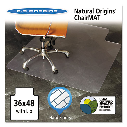 Natural Origins Chair Mat with Lip For Hard Floors, 36 x 48, Clear | by Plexsupply