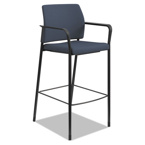 Accommodate? Series Café Stool with Fixed Arms, Cerulean Fabric