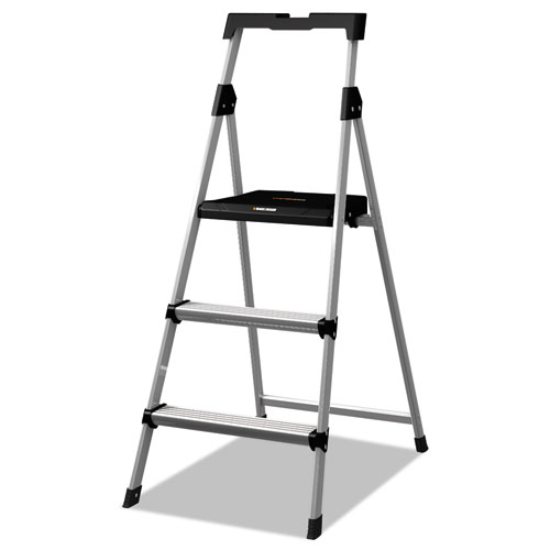 Aluminum Step Stool Ladder, 3-Step, 225 lb Capacity, 20w x 31 spread x 47h, Silver | by Plexsupply