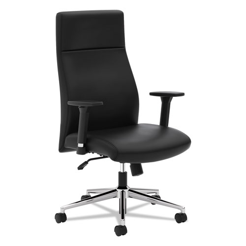 Define Executive High-Back Leather Chair, Supports up to 250 lbs., Black Seat/Black Back, Polished Chrome Base