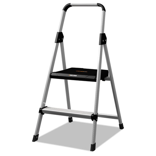 Aluminum Step Stool Ladder, 2-Step, 225 lb Capacity, 18.5w x 23.5 spread x 38.5h, Silver | by Plexsupply