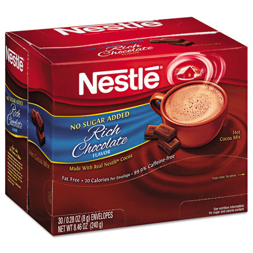 Nestlé® No-Sugar-Added Hot Cocoa Mix Envelopes, Rich Chocolate, 0.28 oz Packet, 30/Box