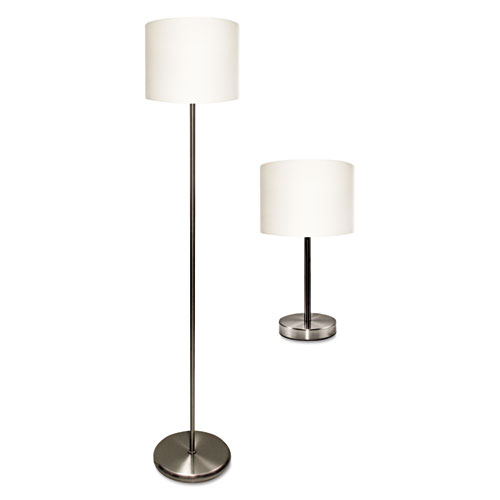 Slim Line Lamp Set, Table 12 5/8 High and Floor 61.5 High, 12 6w x 61.5 12.63h, Silver