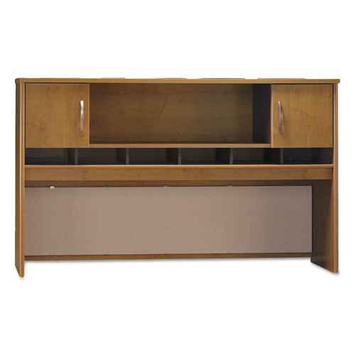 Series C Collection 2 Door 72W Hutch, Box 1 of 2, 71.13w x 15.38d x 43.13h, Natural Cherry/Graphite Gray