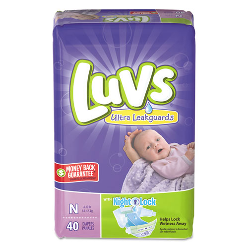 Diapers with Leakguard, Newborn: 4 lbs to 10 lbs, 40/Pack, 4 Packs/Carton | by Plexsupply