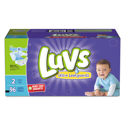 Diapers with Leakguard, Size 2: 12 lbs to 18 lbs, 96/Carton | by Plexsupply