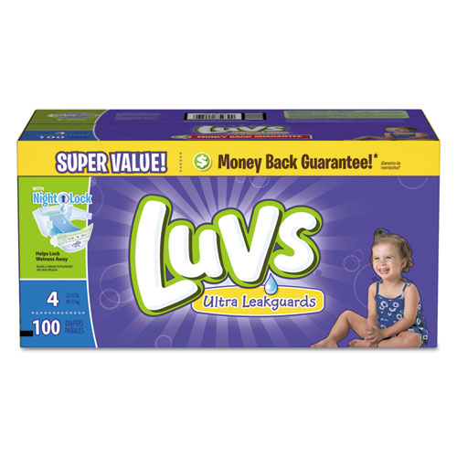Diapers w/Leakguard, Size 4: 22 to 37 lbs, 100/Carton