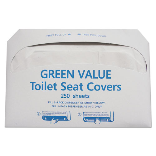Half-Fold Toilet Seat Covers, 14.75 x 16.5, White, 5,000/Carton