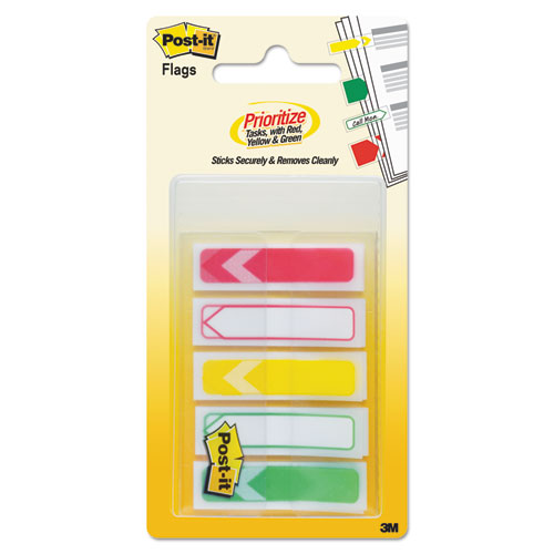Arrow 1/2 Prioritization Page Flags, Red/Yellow/Green, 100/Pack