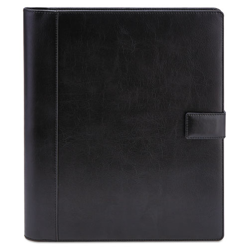 Textured Notepad Holder, 8 1/2 x 11, Leather-Like, Black | by Plexsupply