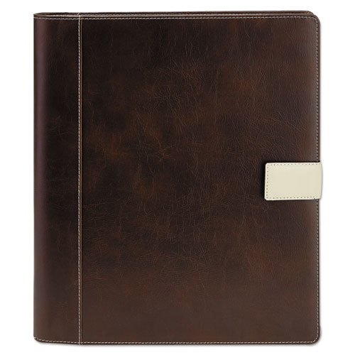Textured Notepad Holder, 8 1/2 x 11, Leather-Like, Brown | by Plexsupply