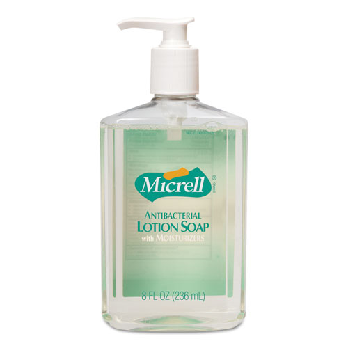 Antibacterial Lotion Soap, Light Scent, 8 oz Pump, 12/Carton