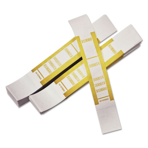 Self-Adhesive Currency Straps, Mustard, 10,000 in 100 Bills, 1000 Bands/Pack