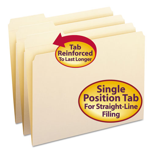 Reinforced Tab Manila File Folders, 1/3-Cut Tabs, Left Position, Letter Size, 11 pt. Manila, 100/Box | by Plexsupply