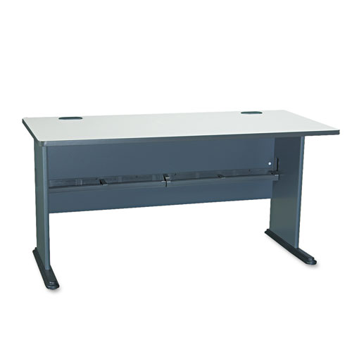 Bush® Series A Collection 48W Desk, 47.63w x 26.88d x 29.88h, Natural Cherry/Slate Gray