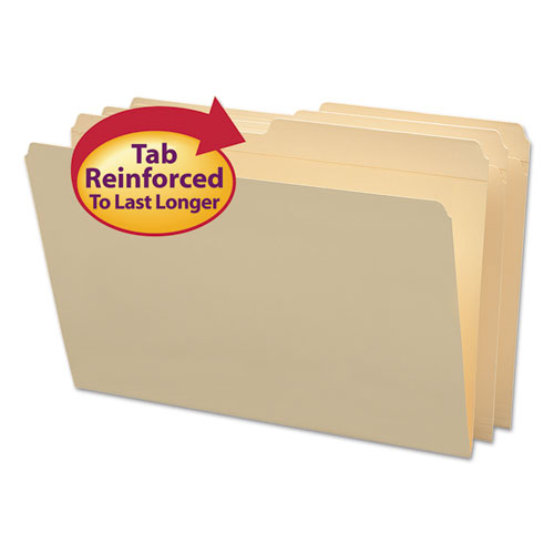 Reinforced Tab Manila File Folders, 1/2-Cut Tabs, Legal Size, 11 pt. Manila, 100/Box | by Plexsupply