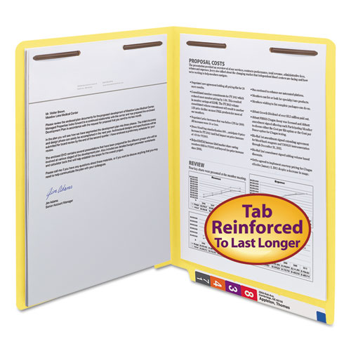 WaterShed/CutLess End Tab 2-Fastener Folders, Straight Tab, Letter Size, Yellow, 50/Box