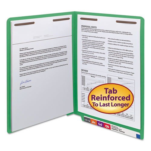 WaterShed/CutLess End Tab 2-Fastener Folders, Straight Tab, Letter Size, Green, 50/Box
