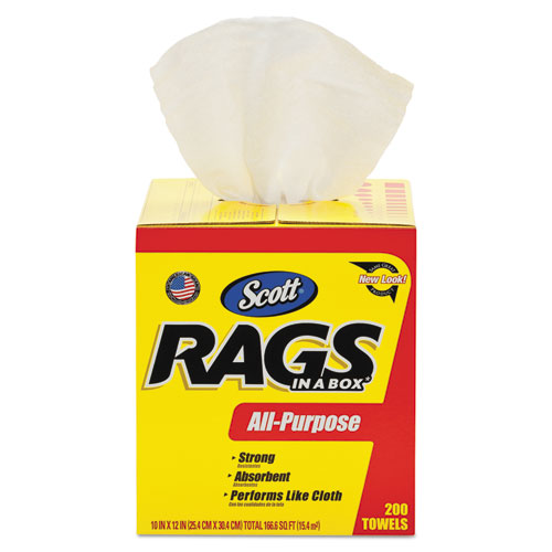 Rags in a Box, POP-UP Box, 10 x 12, White, 200/Box | by Plexsupply