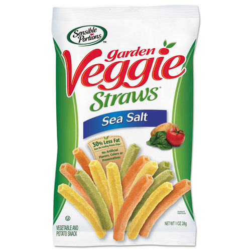 Sensible Portions® Veggie Straws, Sea Salt, 1 oz Bag, 8 Bags/Carton
