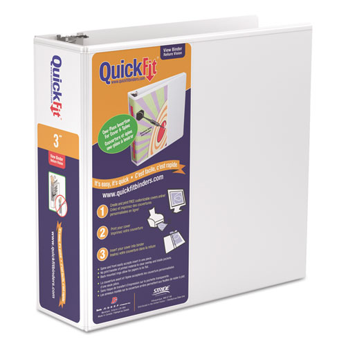 """QuickFit D-Ring View Binder, 3"""" Capacity, 8 1/2 X 11"""