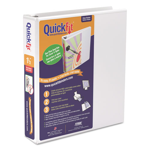 """QuickFit D-Ring View Binder, 1 1/2"""" Capacity, 8 1/2 X 11"""
