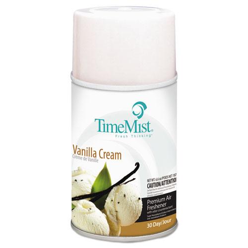 Premium Metered Air Freshener Refill, Vanilla Cream, 5.3 oz Aerosol, 12/Carton