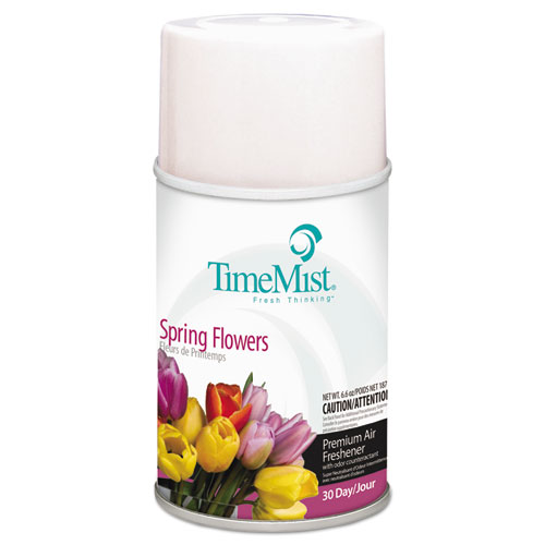 Premium Metered Air Freshener Refill, Spring Flowers, 5.3 oz Aerosol, 12/Carton