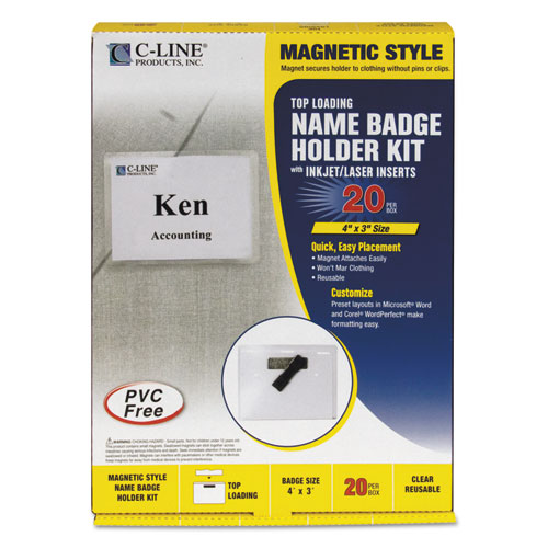 Magnetic Name Badge Holder Kit, Horizontal, 4w x 3h, Clear, 20/Box | by Plexsupply