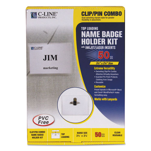 Name Badge Kits, Top Load, 3 1/2 x 2 1/4, Clear, Combo Clip/Pin, 50/Box | by Plexsupply