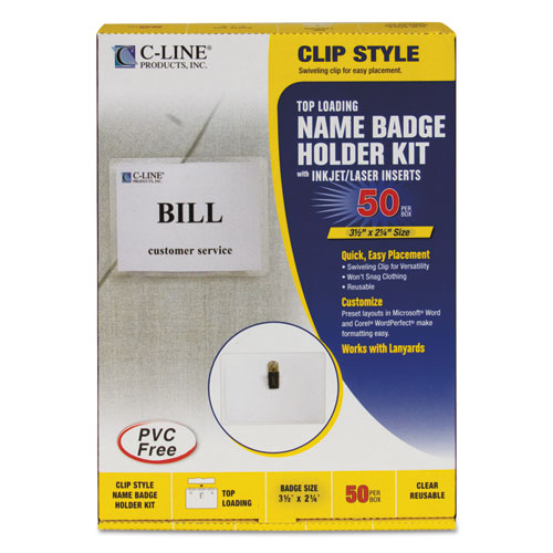 Name Badge Kits, Top Load, 3 1/2 x 2 1/4, Clear, 50/Box | by Plexsupply