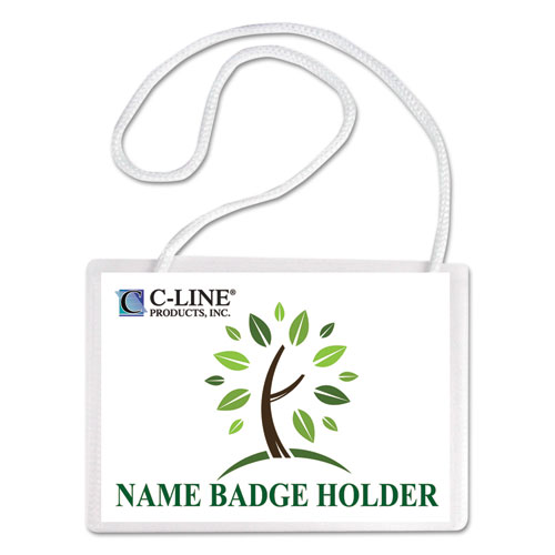 C-Line® Specialty Name Badge Holder Kits, 4 x 3, White, 50/Box