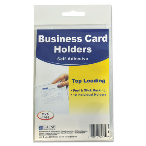 Self-Adhesive Business Card Holders, Top Load, 3 1/2 x 2, Clear, 10/Pack | by Plexsupply