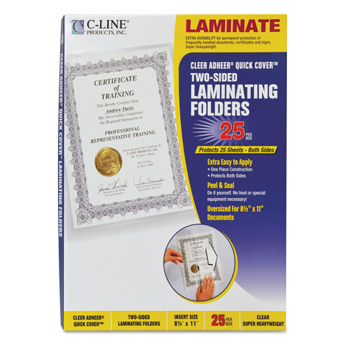 """Quick Cover Laminating Pockets, 12 mil, 9.13"""" x 11.5"""", Gloss Clear, 25/Box 