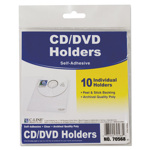 Self-Adhesive CD Holder, 5 1/3 x 5 2/3, 10/PK | by Plexsupply