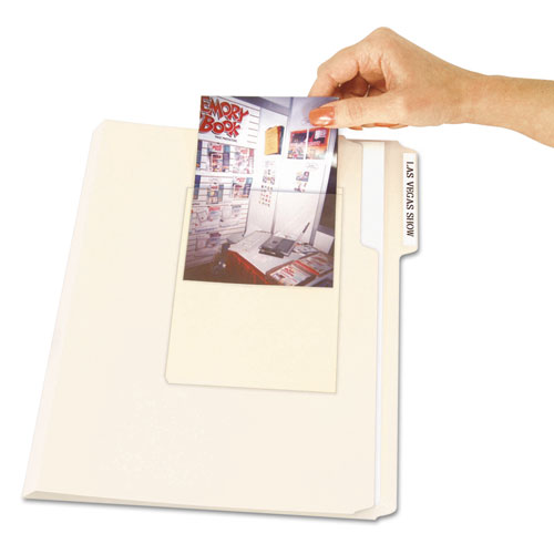 Peel  Stick Photo Holders, 4 3/8 x 6 1/2, Clear, 10/Pack