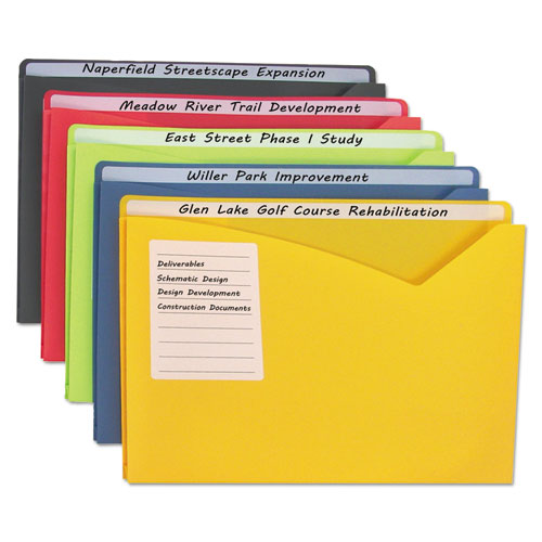 Write-On Poly File Jackets, Straight Tab, Letter Size, Assorted Colors, 25/Box | by Plexsupply
