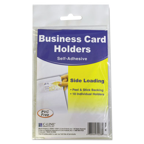 Self-Adhesive Business Card Holders, Side Load, 3 1/2 x 2, Clear, 10/Pack | by Plexsupply