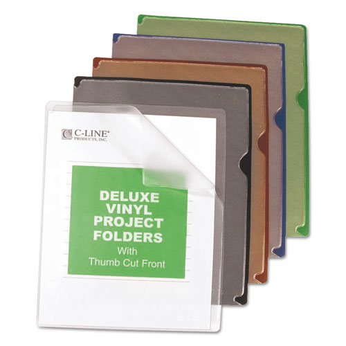 Deluxe Vinyl Project Folders, Letter Size, Assorted Colors, 35/Box | by Plexsupply