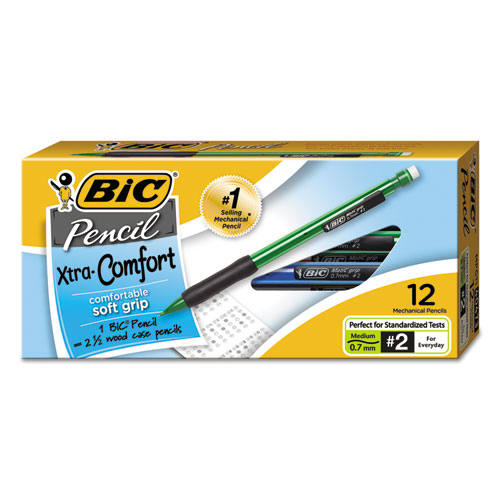 Xtra-Comfort Mechanical Pencil, 0.7 mm, HB (2.5), Black Lead, Assorted Barrel Colors, Dozen