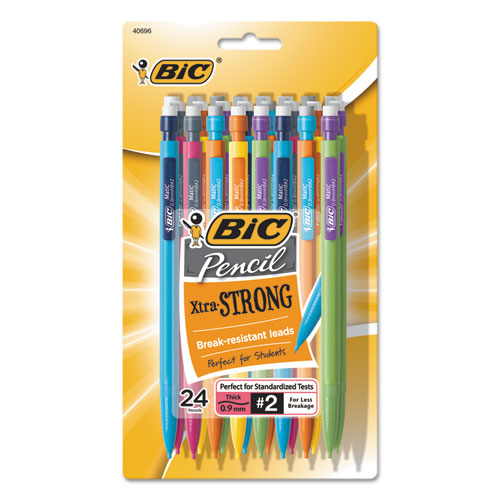 Xtra-Strong Mechanical Pencil, 0.9 mm, HB (#2.5), Black Lead, Assorted Barrel Colors, 24/Pack | by Plexsupply