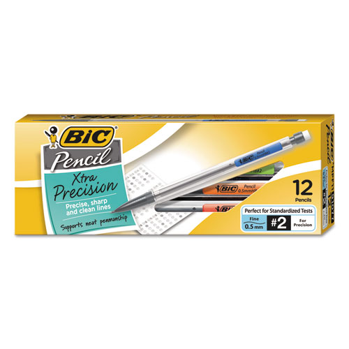 Xtra-Precision Mechanical Pencil, 0.5 mm, HB (2.5), Black Lead, Clear Barrel, Dozen