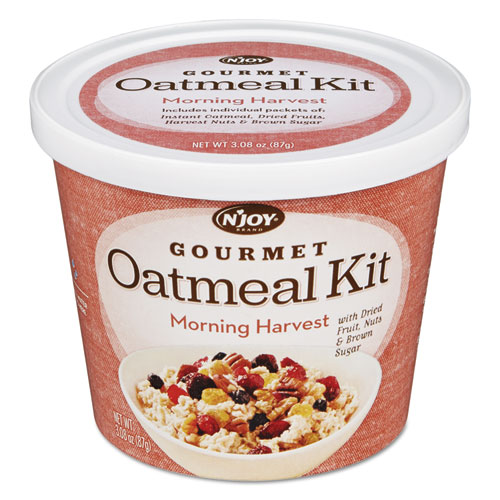 N'Joy Gourmet Oatmeal Kit, Morning Harvest, 3.08 oz Bowl, 8/PK
