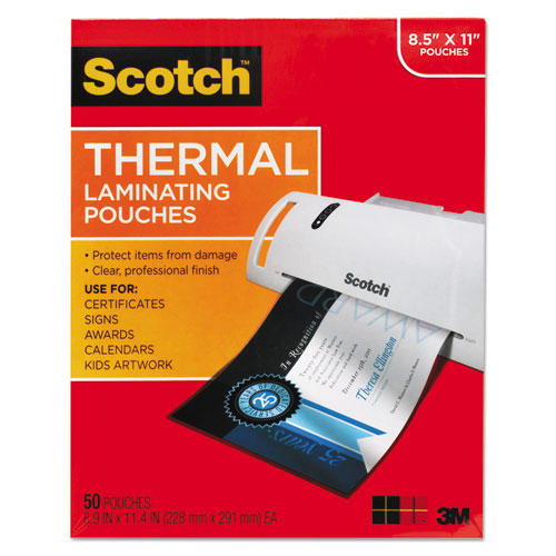 """Laminating Pouches, 3 mil, 9"""" x 11.5"""", Gloss Clear, 50/Pack 