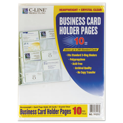 Business Card Binder Pages Holds 20 Cards 8 1 8 x 11 1 4