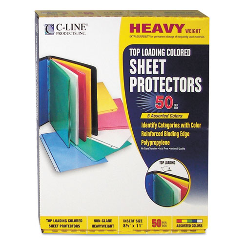 "Colored Polypropylene Sheet Protectors, Assorted Colors, 2"", 11 x 8 1/2, 50/BX 