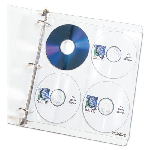 Deluxe CD Ring Binder Storage Pages, Standard, Stores 8 CDs, 5/PK | by Plexsupply