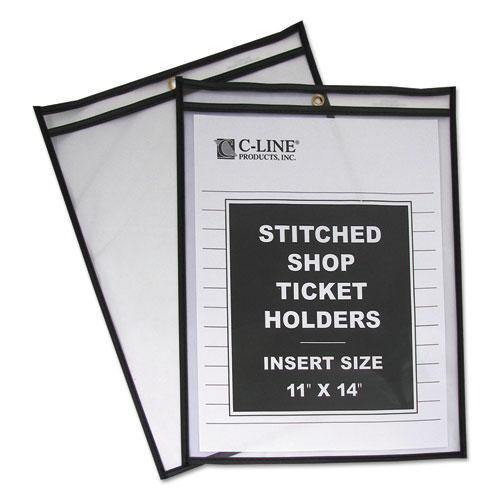 Shop Ticket Holders, Stitched, Both Sides Clear, 75 Sheets, 11 x 14, 25/Box | by Plexsupply