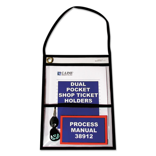 2-Pocket Shop Ticket Holder w/Strap, Black Stitching, 150-Sheet, 9 x 12, 15/Box | by Plexsupply