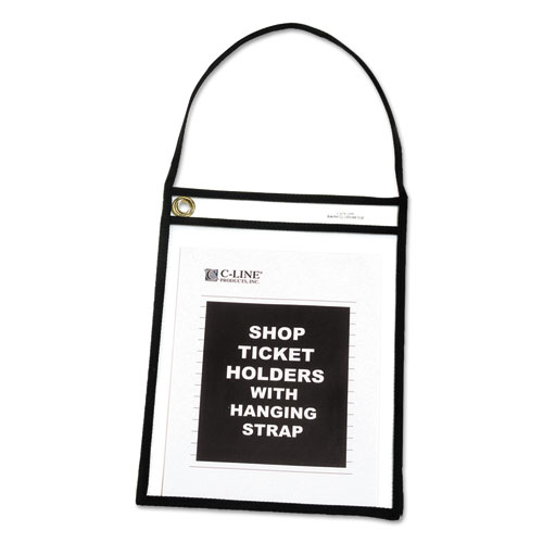 """Stitched Shop Ticket Holders with 75"""" Strap, Clear/Black, 9 x 12, 15/BX"""